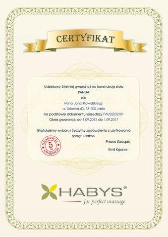 Certyfikat - 6 lat gwarancji na konstrukcję stołu