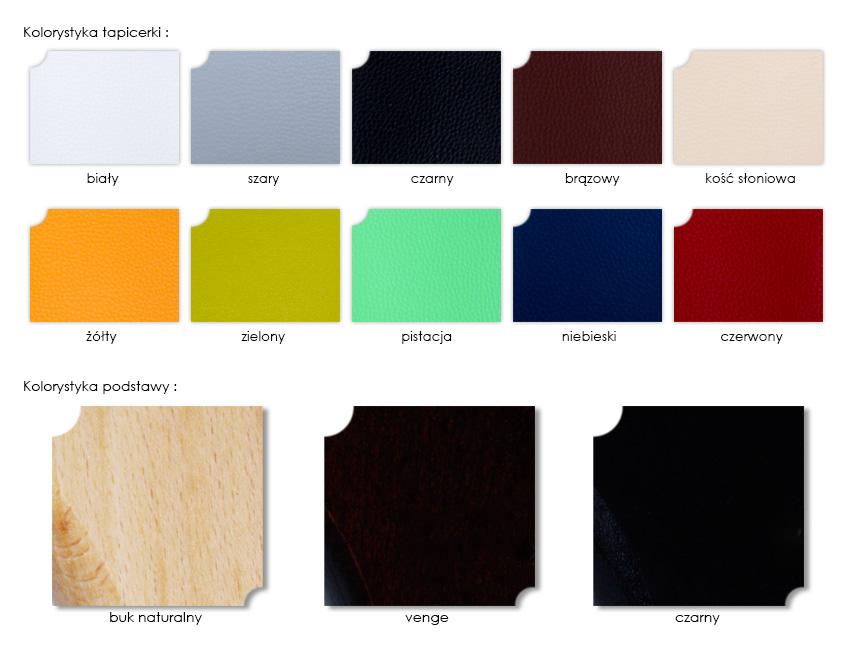 Kolorystyka podstawy i tapicerki stołu do masażu Selene M