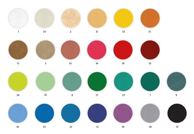 Wzornik kolorów tapicerki stołów marki Tech-Med